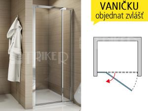 TED sprchové dveře jednokřídlé spevnou stěnou 900 (875-925 mm) profil:bílý, výplň:čiré sklo
