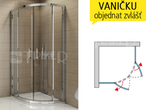 TER Sprchový kout 800/1900 R550 profil:bílý,výplň:čiré sklo
