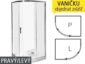 Tigo sprchový kout asymetrický 100 x 80cm profil:stříbro, výplň:arctic