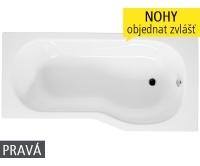 Tigo vana akrylátová 160 x 80/70 cm pravá bílá, H2202100000001, Jika