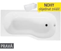 Tigo vana akrylátová pro instalaci s panelem 160 x 80/70 cm pravá bílá, H2222100000001, Jika