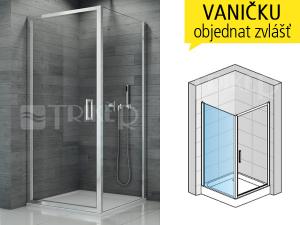 TOPF boční stěna pro kombinaci sdveřmi 1000 (985-1010 mm) profil:aluchrom, výplň:čiré sklo