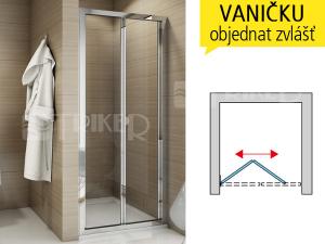 TOPK sprchové dveře zalamovací 1000 (975-1025 mm) profil:aluchrom, výplň:čiré sklo