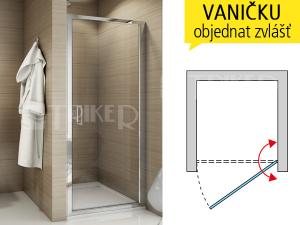 TOPP sprchové dveře jednokřídlé 900 (875-925 mm) profil:aluchrom, výplň:čiré sklo