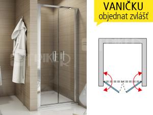 TOPP2 sprchové dveře dvoukřídlé 1000 (975-1025 mm) profil:aluchrom, výplň:čiré sklo