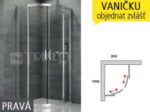 TOPR sprchový kout asymetrický 1000 x 800 pravy, profil:aluchrom, výplň:čiré sklo