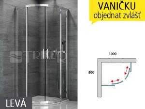 TOPR sprchový kout asymetrický 800 x 1000 levý, profil:aluchrom, výplň:čiré sklo