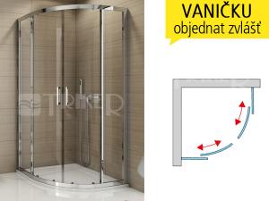 TOPR sprchový kout s posuvnými dveřmi 1000 R550 (985-1010 mm) profil:bílý, výplň:čiré sklo