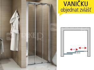 TOPS3 sprchové dveře třídílné, posuvné 1000 (975-1025 mm) profil:aluchrom, výplň:čiré sklo