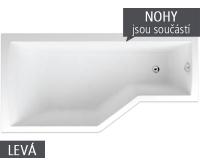 Tuba vana akrylátová 160 x 80/55 cm, levá, bílá včetně nohou, V117160L04T01001, Teiko