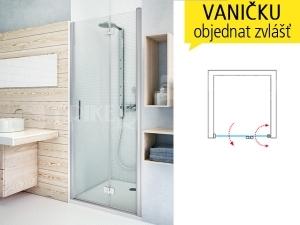TZNP1 sprchové dveře zlamovací do niky TZNP1/1100 (1075-1110mm) profil:brillant, výplň:transparent