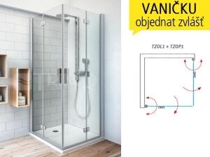 TZOP1 sprchové dveře skládací TZOP1/1000 (975-995mm) profil:brillant, výplň:transparent