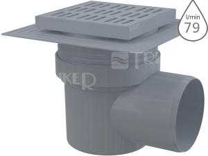 Vpusť podlahová APV10 s límcem, boční odpad 110 mm, plastová mřížka 150 x 150 mm
