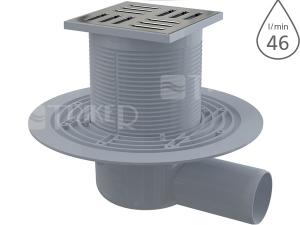 Vpusť podlahová APV101 boční 50 mm, výška 79 mm, nerezová mřížka 105 x 105 mm