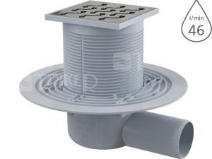 Vpusť podlahová APV102 boční 50 mm, výška 79 mm, nerezová mřížka 105 x 105 mm