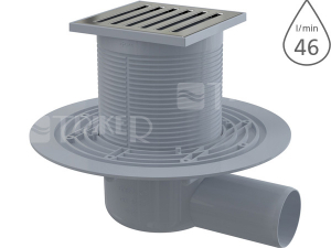 Vpusť podlahová APV103 boční 50 mm, výška 79 mm, nerezová mřížka 105 x 105 mm