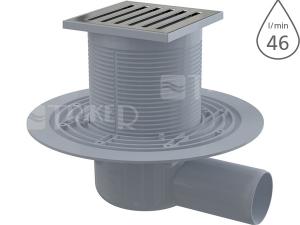 Vpusť podlahová APV103 boční 50mm, výška 79mm, nerezová mřížka 105x105mm