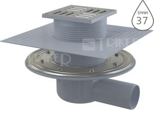 Vpusť podlahová APV1324 se SMART uzávěrem boční 50mm, výška 79 mm, nerezová mřížka 105 x 105 mm