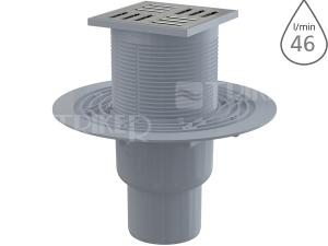 Vpusť podlahová APV201 spodní odpad 75/50mm, nerezová mřížka 105x105 mm