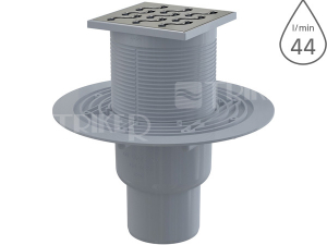 Vpusť podlahová APV202 spodní odpad 75/50 mm, nerezová mřížka 105 x 105 mm