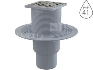 Vpusť podlahová APV202 spodní odpad 75/50mm, nerezová mřížka 105x105 mm