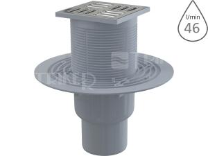 Vpusť podlahová APV2311 spodní odpad 50/75mm, nerezová mřížka 105 x 105 mm