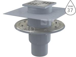 Vpusť podlahová APV2324 se SMART uzávěrem spodní odpad 50/75mm, nerezová mřížka 105 x 105 mm