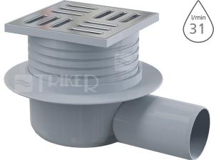 Vpusť podlahová APV26 boční odpad 50 mm, výška 66 mm, nerezová mřížka