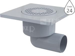 Vpusť podlahová APV3 boční odpad 50mm, výška 105mm, plastová mřížka 150x150mm