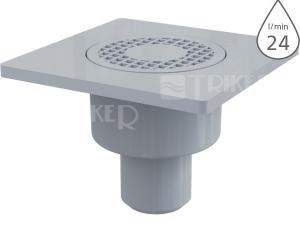 Vpusť podlahová APV4 spodní odpad 50mm, výška 92mm, plastová mřížka 150x150mm