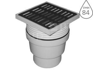 Vpusť podlahová černá SIPPAN1 spodní odpad 110 mm, nerezová mřížka 150 x 150 mm