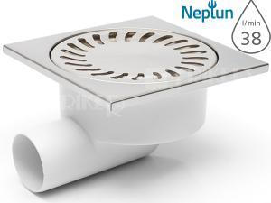 Vpusť podlahová DN50/95XN NEPTUN boční odpad 50mm, nerezová mřížka