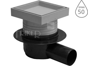 Vpusť podlahová s rámečkem pro vložení dlažby SI50D00 boční odpad 50 mm