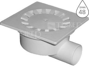 Vpusť podlahová SI50000 boční odpad 50 mm, plastová mřížka 149 x 149 mm