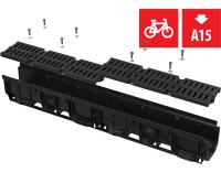 Žlab venkovní AVZ104-R401 100mm s plastovým rámem s plastovým roštem A15, AVZ104-R401, Alca plast