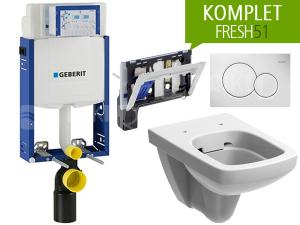 Závěsný WC komplet Geberit FRESH51 pravoúhlý