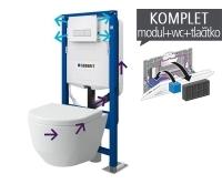 Závěsný WC komplet T-37 Duofix pro odsávání zápachu + Laufen Pro klozet kapotovaný, T-37 LPK, Geberit