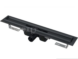Žlab podlahový APZ1 pro perforovaný rošt 300 mm, boční odtok 50 mm, černá - mat
