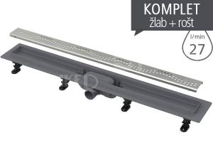 Žlab podlahový APZ8 Simple plastový s nerezový roštem
