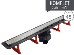 Žlab podlahový Confluo Frameless Line s nerezovým roštem 2V1 550 mm