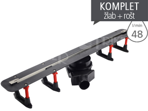 Žlab podlahový Confluo Slim Line + s nerezovým roštem 550 mm